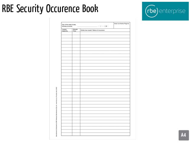 rbe security occurence book