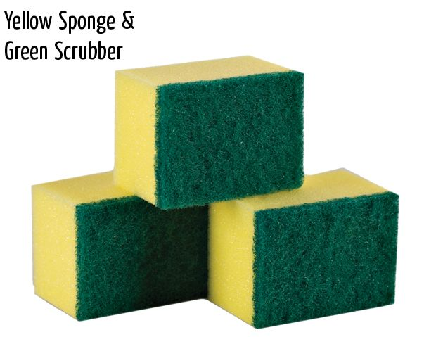 yellow sponge green scrubber