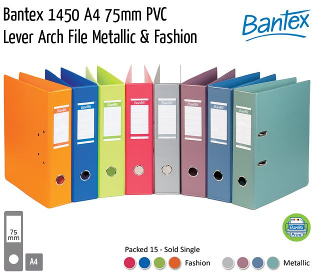 bantex 1450 a4 75mm pvc metallic fashion