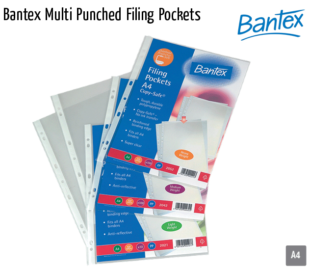 bantex multi punched filing pockets