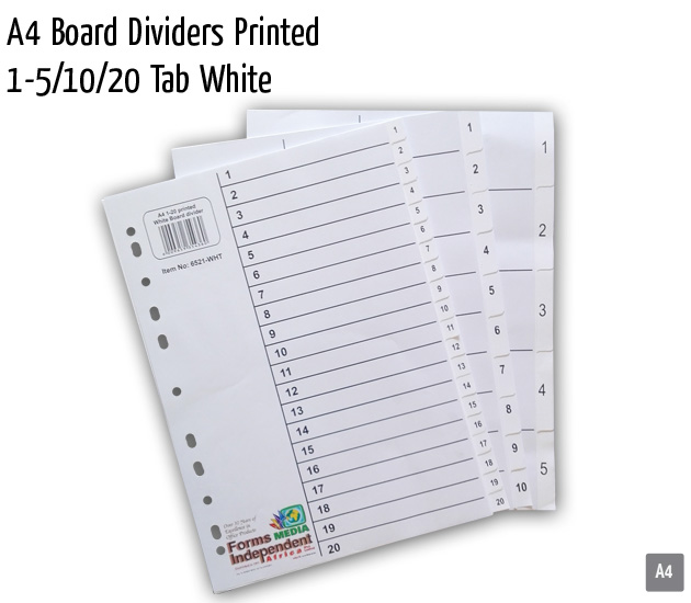 a4 board dividers printed 1 5 10 20