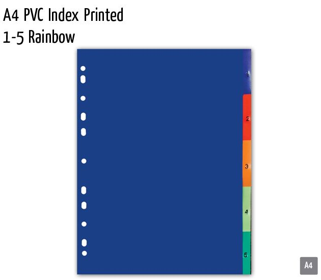 a4 pvc index printed 1 5 rainbow