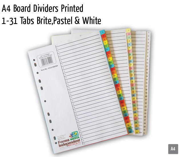 fmia a4 board dividers printed 1 31 tabs