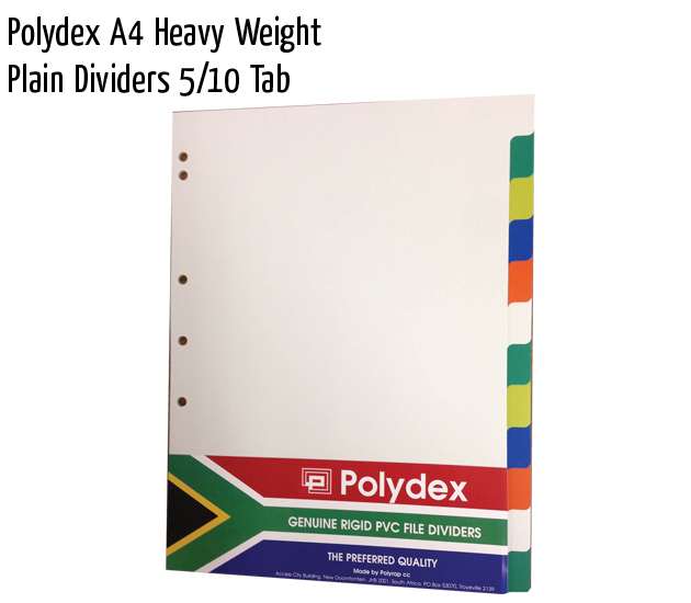 polydex a4 hw plain dividers 1 10 tab