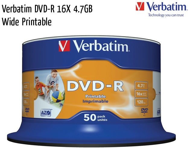 verbatim dvd r 16x wide printable