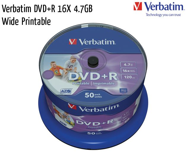 verbatim dvd plus r 16x printable