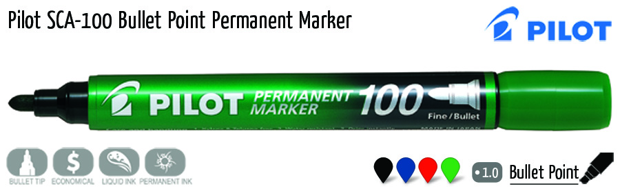 permanent markers pilot sca 100 bullet point permanent marker