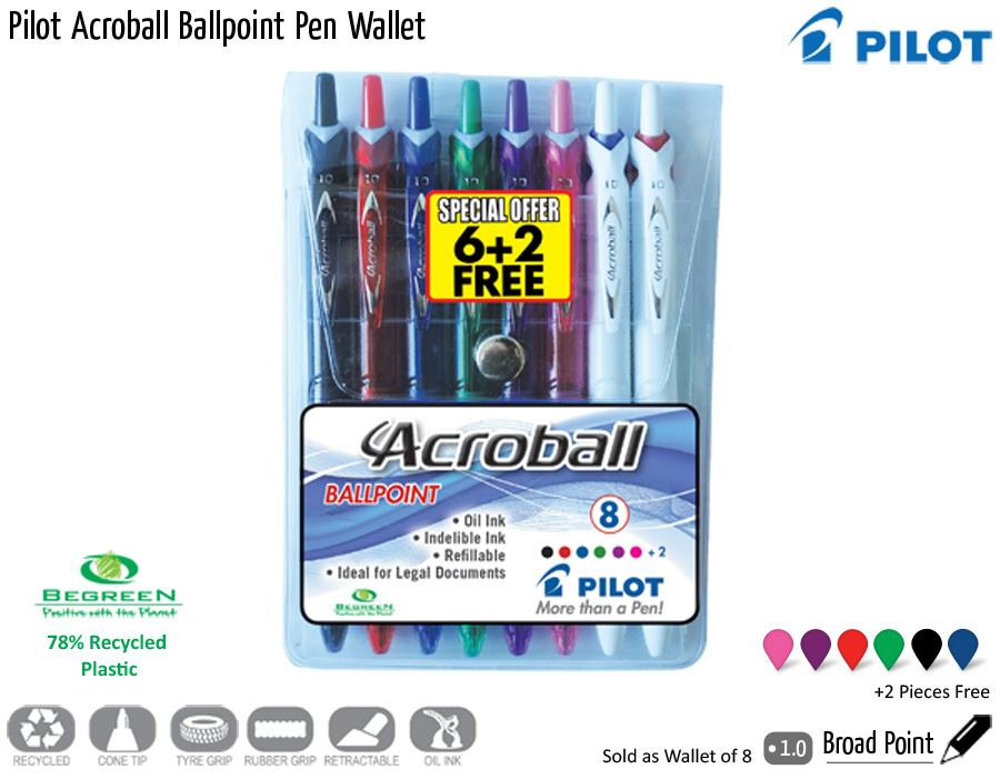 wallets pilot acroball ballpoint pen wallet