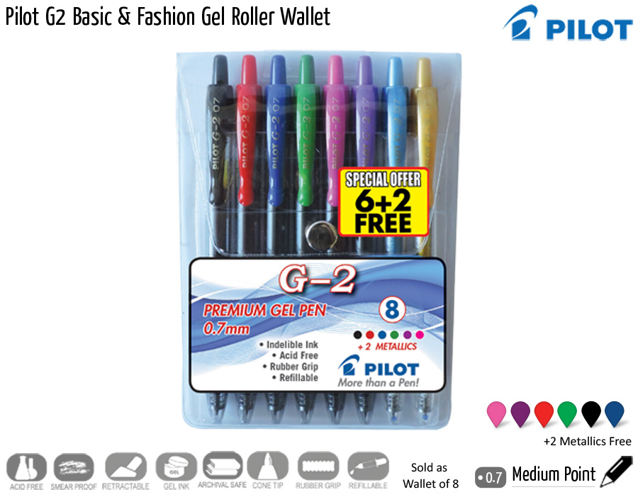 wallets pilot g2 basic fashion gel roller