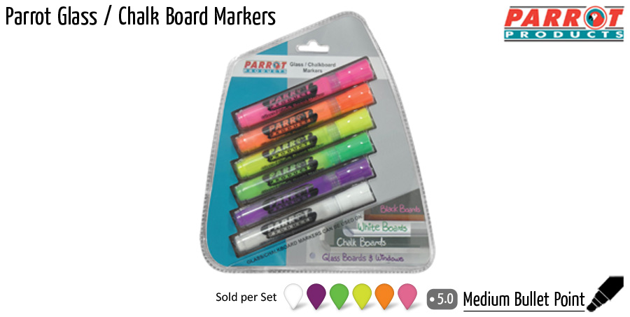 wbmarkersparrot glass chalk board markers